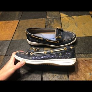 Sparkle blue leather Sperry Top Sider size 7